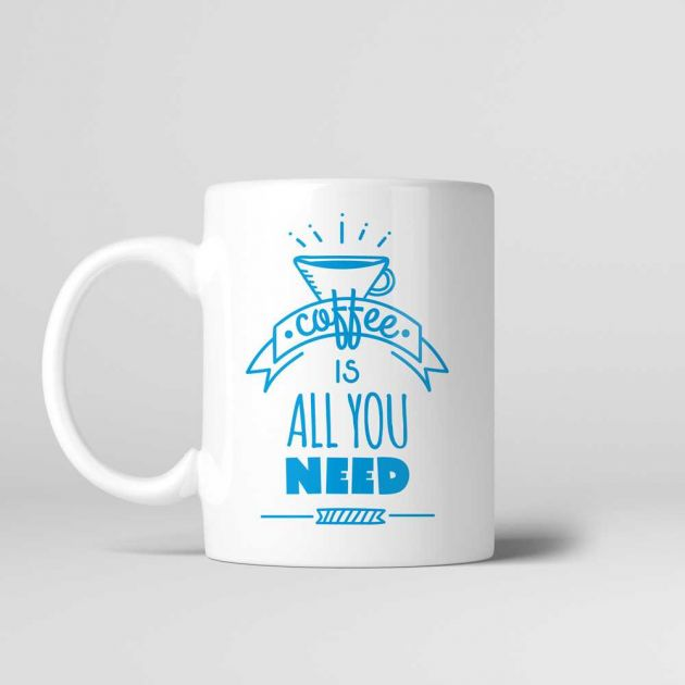 Caneca Cerâmica 330ml Coffe is All You Need - Kokken